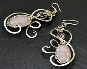Pink Dangle Earrings, Pink Quartz Earrings,  Wire Wrap Earrings, Silver Earrings, Drop Earrings Bridesmaid Gift, Weddings Earrings