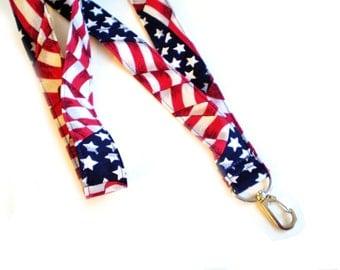 USA FLag Lanyard, American Flag Lanyard, Red White Blue Lanyard, Stars and Stripes Lanyard, Patriotic Lanyard