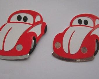 2 VW Beetle Bug Car Scrapbooking Paper, Die Cuts, Card Toppers