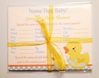Rubber Ducky Baby Shower Game Cards, Name That Baby, Set of 12