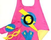 GIRLS PERSONALIZED Super Hero Cape Set - Includes superhero cape plus 3 accessories - 10 choices - Kids Superhero Costume - Dressup