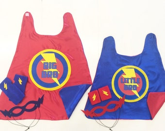 2 Super Sibling Hero Capes - Included Big Brother and Little Brother Capes + Accessories - Sibling Gift Set - Kid Pretend Play