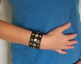 SALE Leather cuff bracelet, embellished leather bracelet rocker wrist strap , leather jewelry bracelet, brown cuff, studded