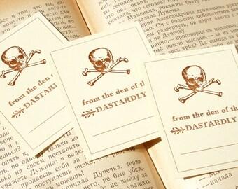 From the Den of the Dastardly Reader! - SKULL & CROSSBONES - Letterpress Bookplates - Set of 25