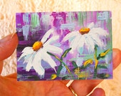 Original ACEO daisy painting - Miniature art trading card, original ATC - Daisies 2 floral watercolour and gouache, floral, free shipping