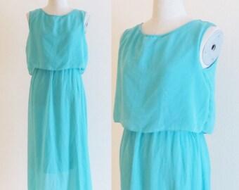 Vintage 1970's Party Dress / Aqua Turquoise Sleeveless Summer Dress / Sheer Chiffon Sun Dress