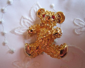 Vintage Teddy Bear Brooch with Ruby Red Rhinestone Eyes