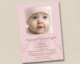Cross Motif Custom Baptism or Christening Announcement or Birth Announcement Design