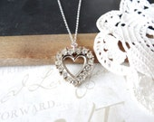 LYDIA vintage rhinestone heart pendant necklace B22 | repurposed | vintage | sterling silver
