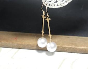 PRINCESS pearl drop chandelier earrings (gold)