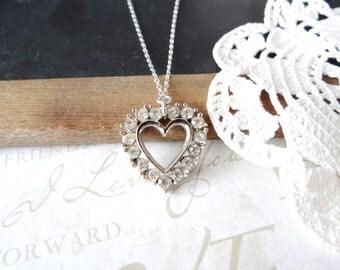 LYDIA vintage rhinestone heart pendant necklace B22 | repurposed | vintage | sterling silver