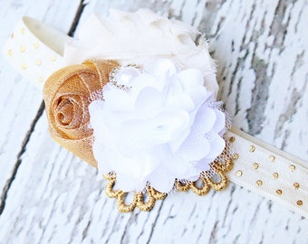 The Messenger- gold rosette and chiffon flower headband in ivory gold and white