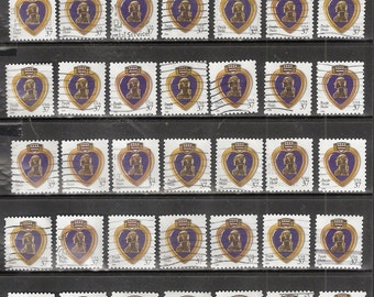 50 PURPLE HEART Service Medal Used United States 37c Postage Stamps ( Purple Heart Medal against a White background)