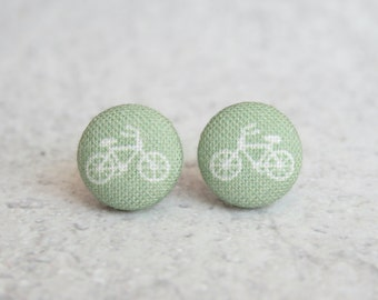 Sage Bikes Fabric Button Earrings