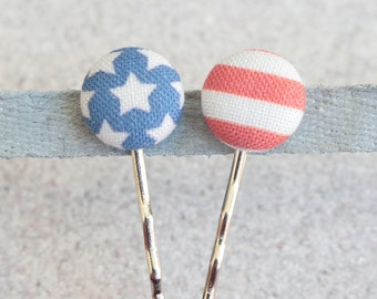 American Flag, Fabric Covered Button Bobby Pin Pair