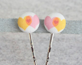 Love Plus Love Equals Love, Fabric Covered Button Bobby Pin Pair
