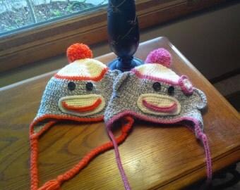Handmade Crochet Sock Monkey Hat--made to order