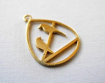 Gold Vermeil Bird Charm Artisan Made 15mm 20mm