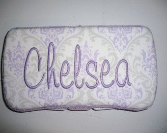 Personalized Travel Baby Wipe Case- Premier Prints Lavender Purple Grey Silver Damask