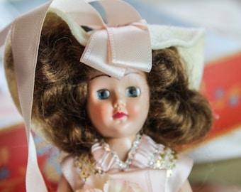 Vintage 1940's Duchess Dolls of all Nations in Box 7 1/2 inch Sleep Eyes #720 Vanity Girl In Pink - Brown Hair