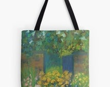 """Secret Garden Landscape Scenery Tote Bag - Artist's Pastel Painting Design. Two Sizes Available Medium 16"""" and Large 18"""""""