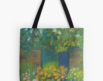 "Secret Garden Landscape Scenery Tote Bag - Artist's Pastel Painting Design. Two Sizes Available Medium 16"" and Large 18"""