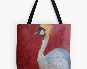 "Crowned Crane Tote Bag - Artist's Mixed Media Painting Design. Two Sizes Available Medium 16"" and Large 18"""
