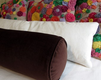 VELVET CHOCOLATE   Daybed size 8x30  bolster pillow includes insert