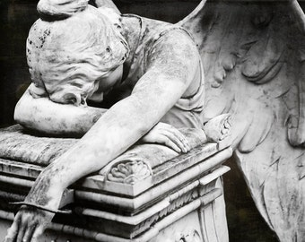 Fine Art Photography, Angel Art, Religious, Black and White Photo, Weeping Angel, Cemetery, Condolence Gift, Angel Wings, Gothic Wall Art