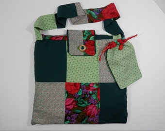 """13"""" Square Vtg Patchwork Craft Project Tote Red Green Floral Purse Shoulder Cross Body Sling Hipster Beach Book Market School Carry All Bag"""
