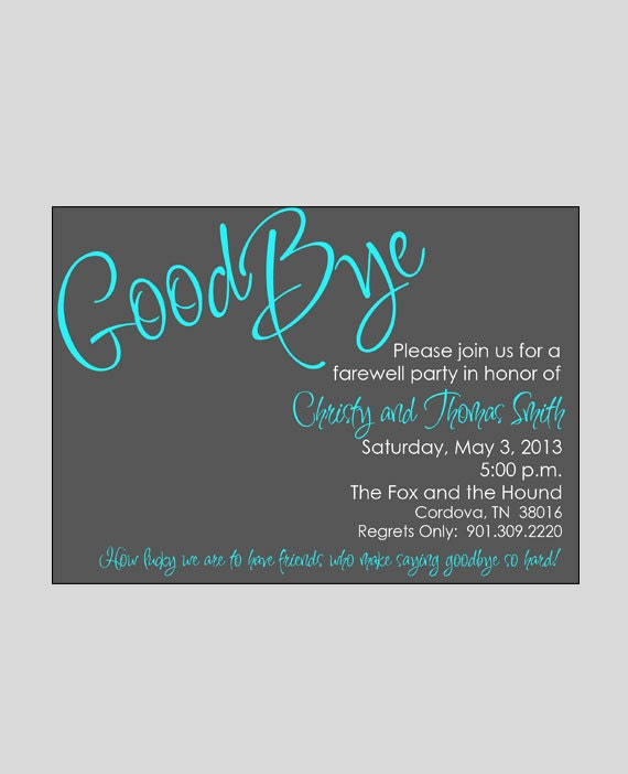 Farewell / Bon Voyage / Going Away Invitation Printable