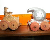 Manoil truck and gas trailer,, toy truck, military truck, gas tank,, cast toy, , lead toy, manol, Barclay, Hubley