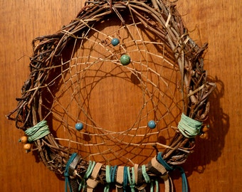 Green, Blue and Brown Handmade Native American Dream Catcher with Real Feathers