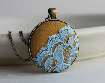 Mustard Yellow Necklace, Sky Blue Lace Jewelry Yellow Gifts for Women Eclectic Jewelry Large Round Pendant Necklace Unique Necklace
