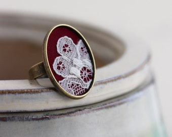 Red Ring, Adjustable, Vintage Lace Jewelry, Boho Fashion Red Jewelry Victorian Ring Maroon Burgundy, Marsala Jewelry, Oval Red Cocktail Ring