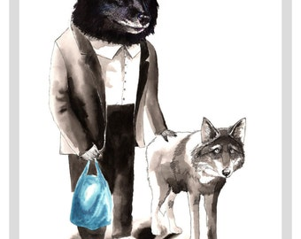Mr Wolf Walking His Wolf A4 Print