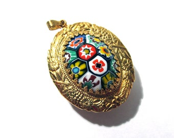 Murano Millefiori Pendant Watch Case VINTAGE Glass Cabochon Oval Flowers Gold Watch Case Venetian Glass Watch Making Jewelry Supplies (D28)