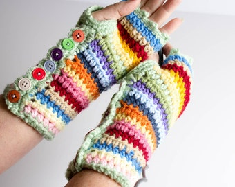 Fingerless Gloves Crochet Photographer Gloves Wrist Warmer Striped Gloves Colorful With Buttons Hand Warmer Mittens Texting Gloves Mitts