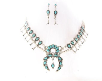 Sterling Silver and Turquoise Navajo Squash Blossom Necklace and Earring Set Zuni Weebothee Signed from AllieEtCie