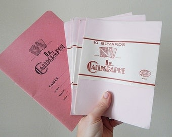 french school supplies vintage calligraphy paper and book