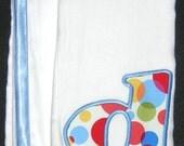 Quality Infant Monogram Applique in Blue Dots Burp Set / Set of 2 Burps