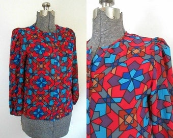 1970s Sheer Colorful Mosaic Blouse / Vintage Seventies Fashion