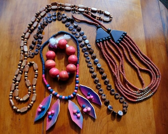 Festival Necklace. Hippie NECKLACE. Festival Jewelry LOT. 4 Necklaces 1 Bracelet vintage 1970s 1980s wood plastic costume jewelry