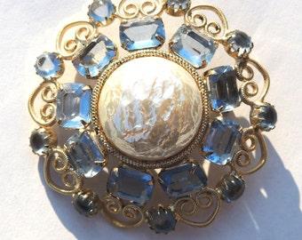 Garne Vintage Brooch Pin Blue Rhinestones Baroque Pearl Vintage Jewelry
