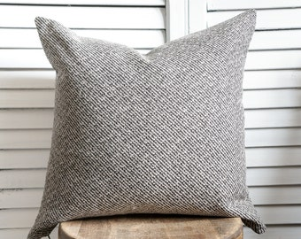 Black and linen tweed pillow cover