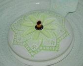"Ceramic Cat Fountain, Handmade, Foodsafe -  ""Spring Play"" - 9.5 Inch Diameter"