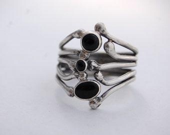Carnivorous Plant Series: NOIR - Sterling Silver and Black Onyx Ring