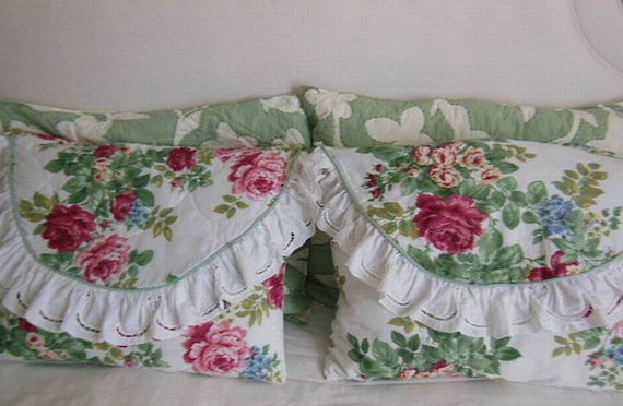 Vintage Shabby Chic Pillow Shams : Vintage Pair of Shabby Chic European Style Pillow Shams