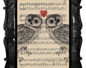 Owls lovers art print - valentine's day gift - owls on antique music page red heart valentine's owl poster art owl wall decor