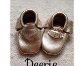 Sale Gold Genuine Leather Moccasins Shoes - Ready to ship